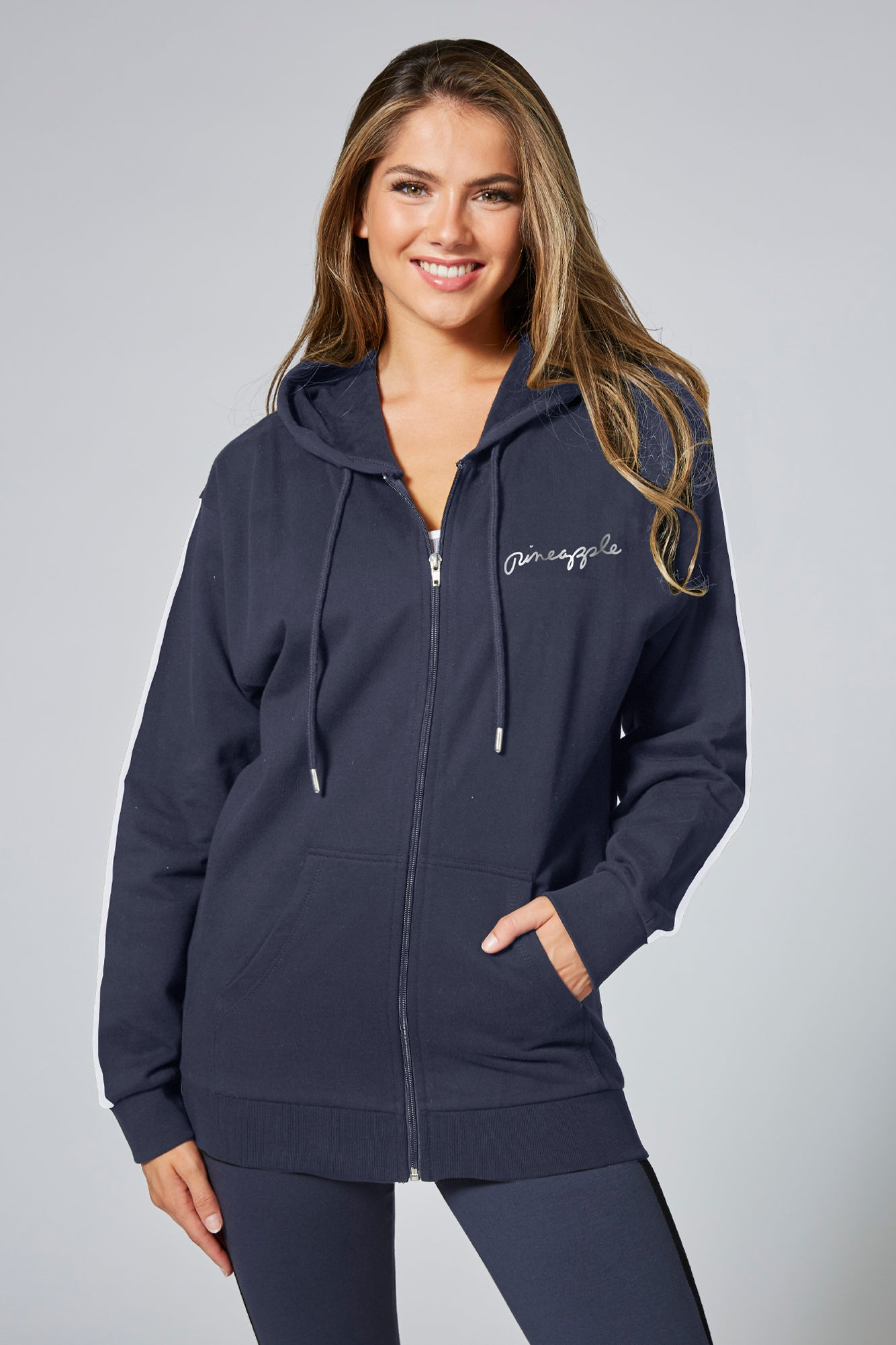 Pineapple Women's Charcoal Stripe Zip Hoodie JH00170A6