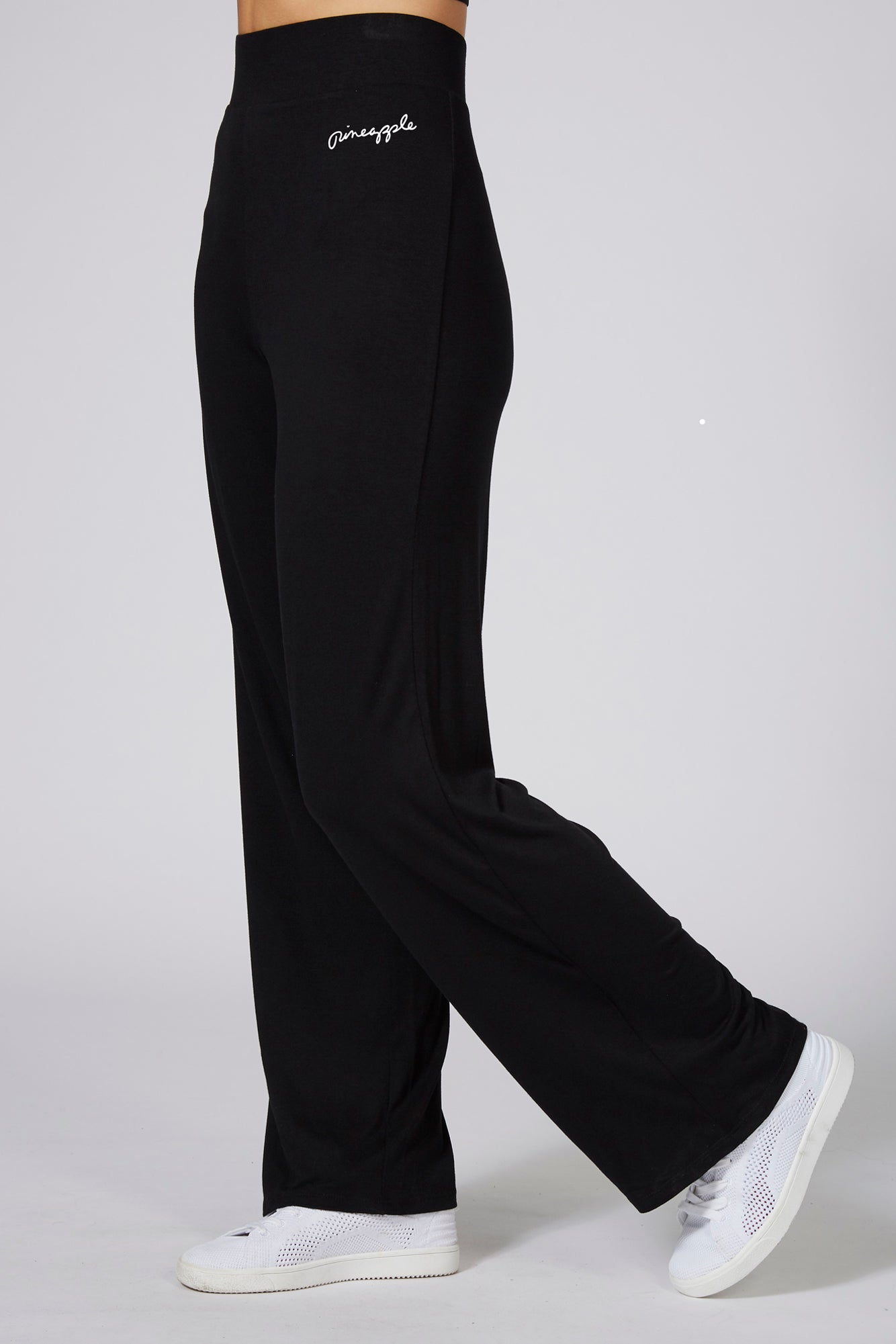 Pineapple Womens Black Viscose Wide Leg Trousers