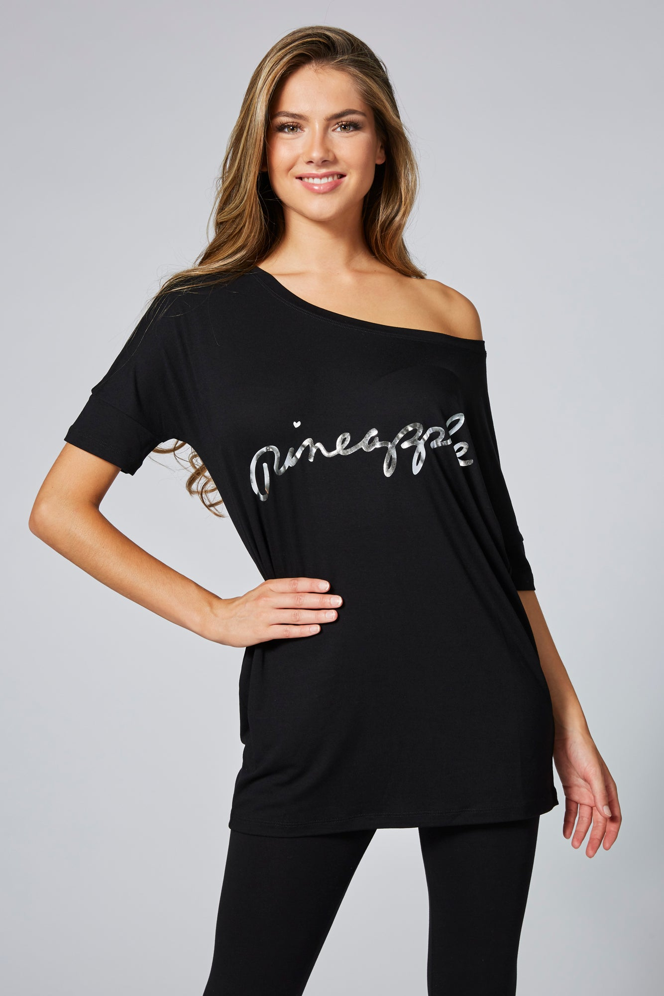 Pineapple Women's Black Viscose Tee TS16150A1