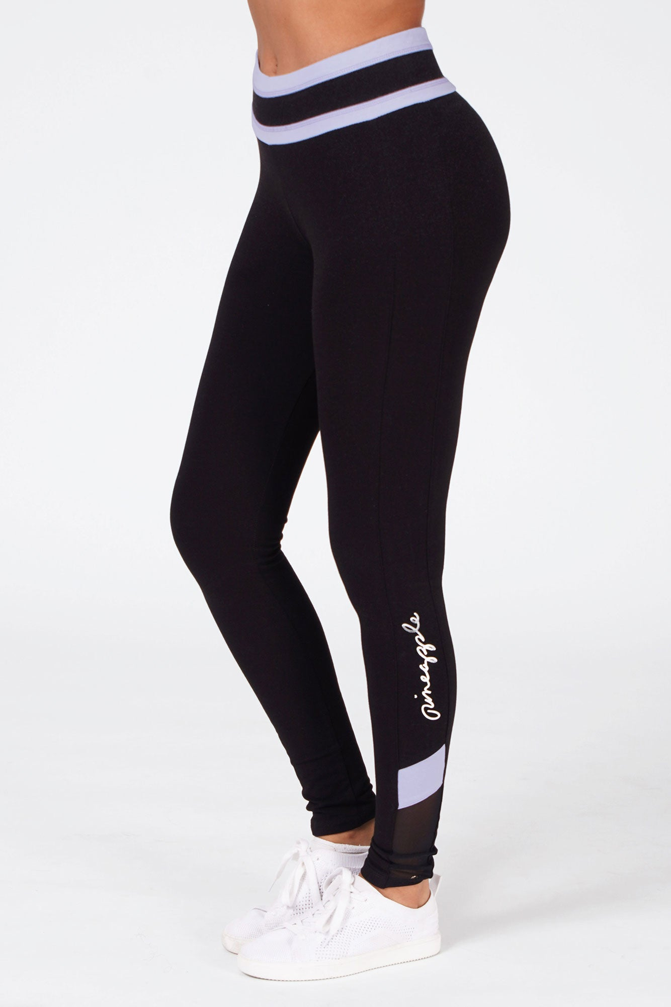 Woman wearing Pineapple Contrast Band Panel Black Leggings