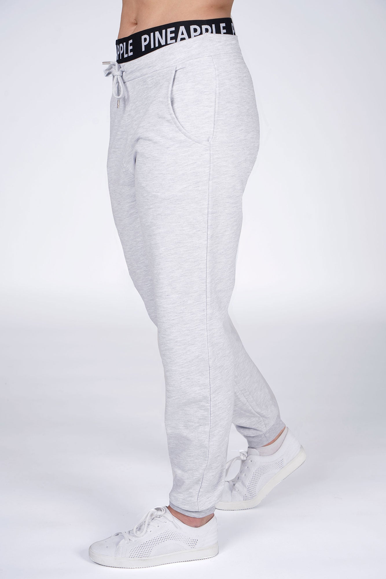 Woman wearing Pineapple Grey Double Band Joggers