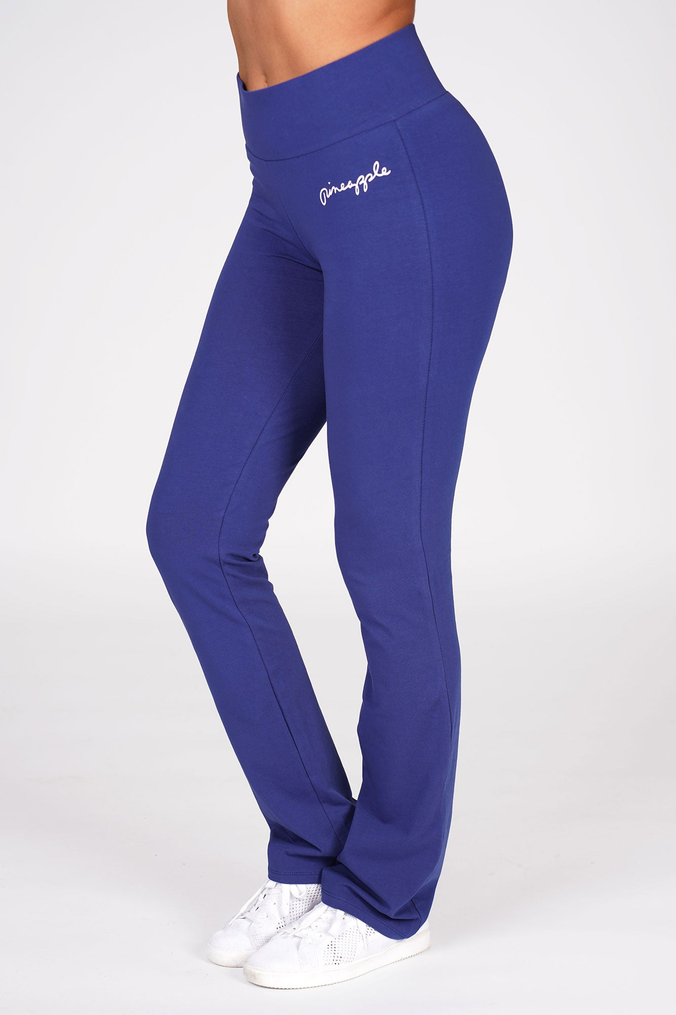 Woman wearing Pineapple Navy Slim Fit Jersey Trousers