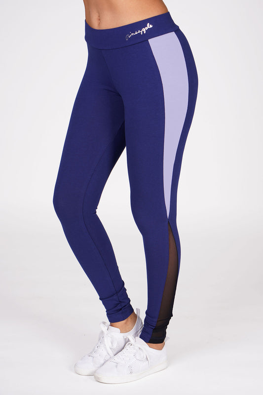Woman wearing Pineapple Navy Blue V Mesh Panel Leggings