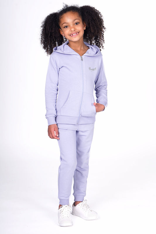 Girl wearing Pineapple Blue Tracksuit with Hoodie & Joggers Set