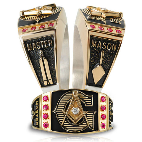 Master Mason Diamond and Birthstone Ring