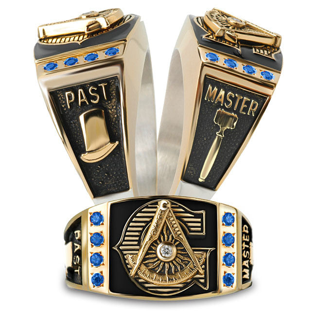 Past Master Mason Diamond and Birthstone Ring