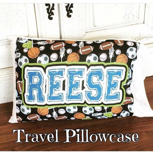 Personalized Travel Pillowcase + Pillow (12 in x 18 in)