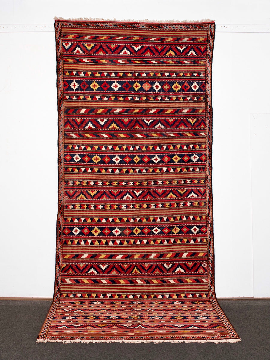 Antique Kilim Rug <br>'Black Fox'<br>from 1940