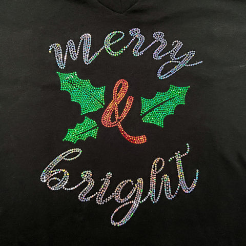 Spangled Merry & Bright Christmas Black T-shirt