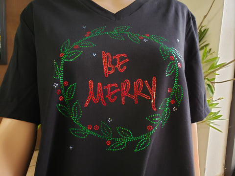 Be Merry Wreath Black V-neck T-shirt