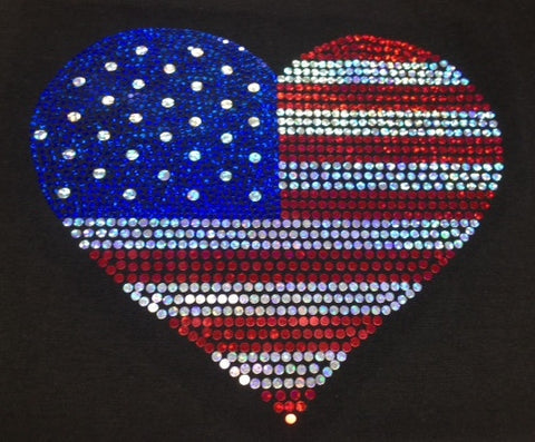 Red, White and Blue Heart - Fourth of July T-shirt