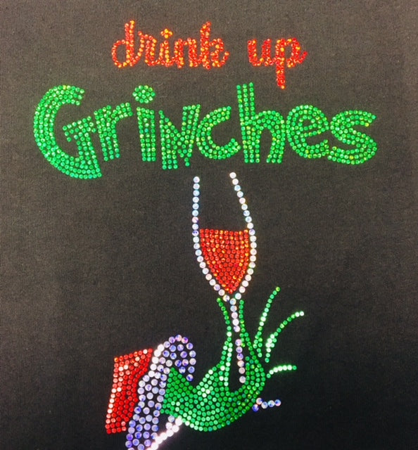 Drink up Grinches Black V-neck T-shirt