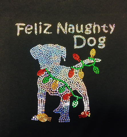 Feliz Naughty Dog Black V-neck T-shirt