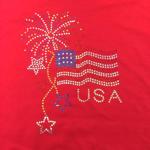 Flag with Fireworks - Fourth of July T-shirt