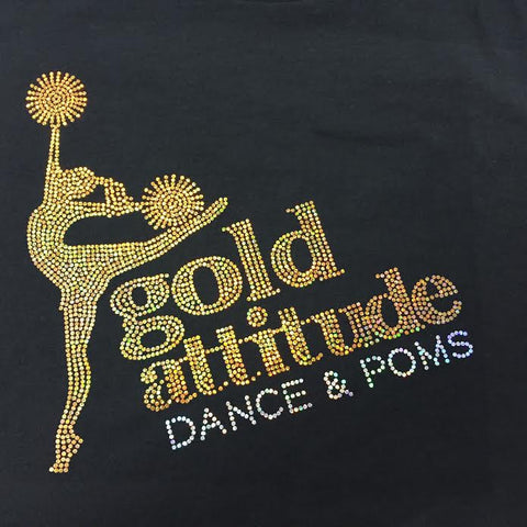 Gold Attitude Dance & Poms FITTED Spangled V- Neck Tee