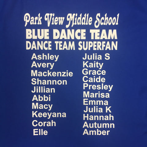 Park View Blue Dance Team SUPERFAN T-shirt