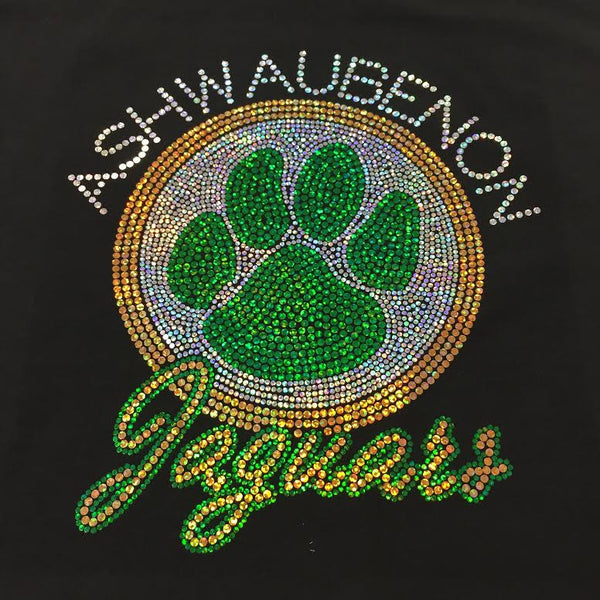 Ashwaubenon Spangled Black Crew Neck Sweatshirt