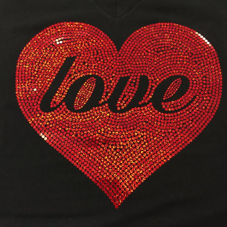Spangled Love Valentine's Heart Black V-neck T-shirt