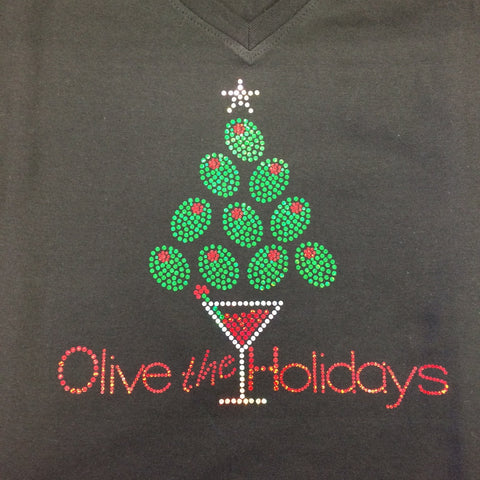 "Christmas ""Olive the Holidays"" Black V-neck T-shirt"