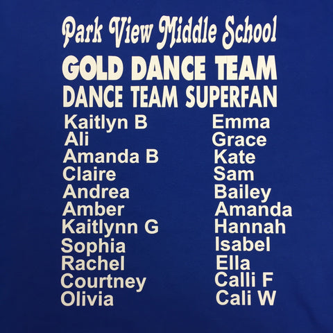 Park View Gold Dance Team SUPERFAN T-shirt