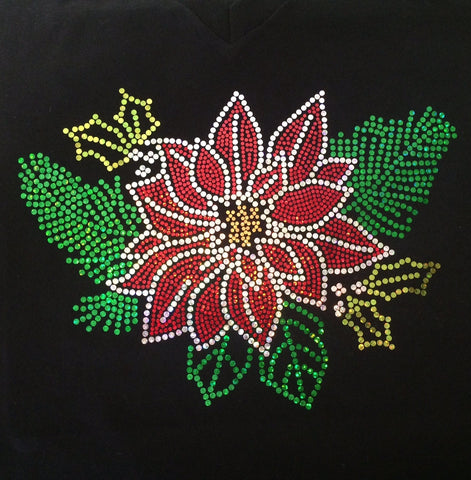 Christmas Poinsetta Black V-neck T-shirt