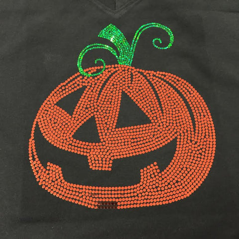 Spangled Pumpkin Black V-neck T-shirt