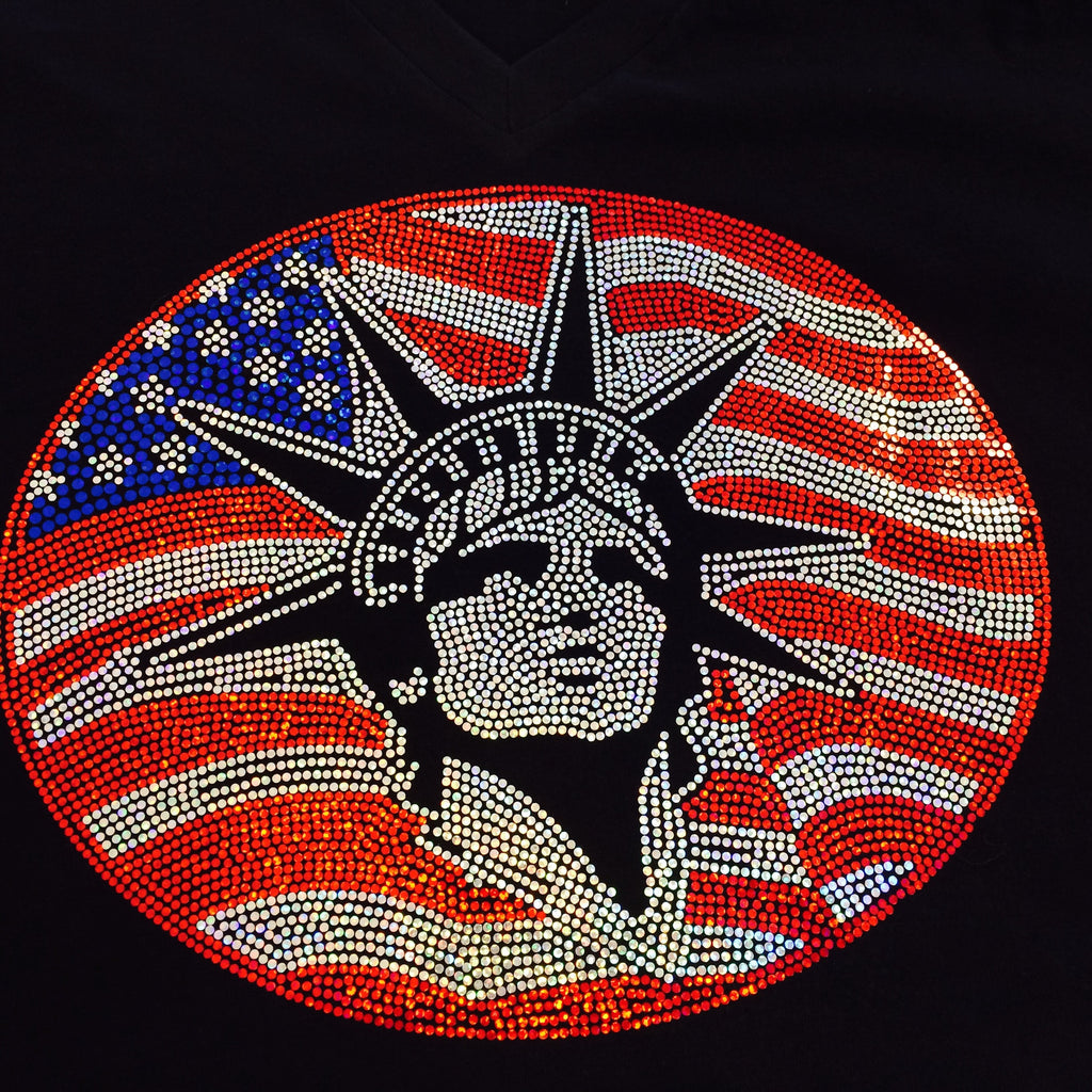 Red, White and Blue Statue of Liberty - Fourth of July Tee