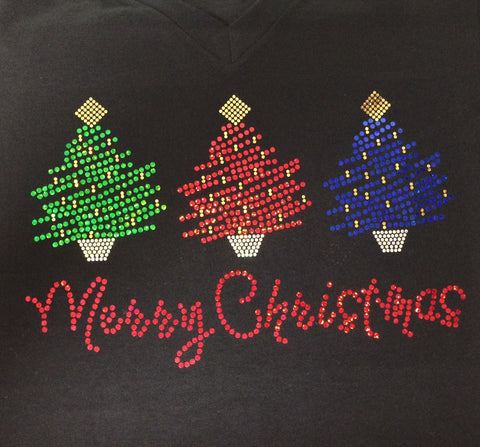 Merry Christmas Three Trees Black V-neck T-shirt