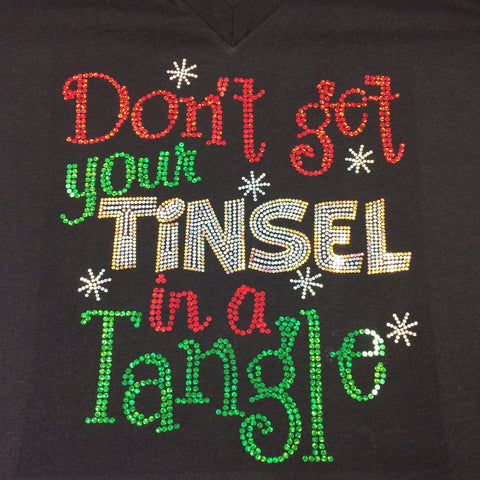 Don't Get Your Tinsel in a Tangle Christmas Black V-neck T-shirt
