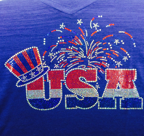 Red, White and Blue USA Fireworks - Fourth of July T-shirt