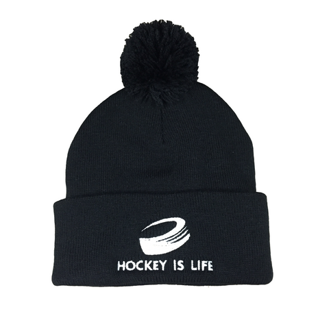 Hockey is Life Pom Pom Hat