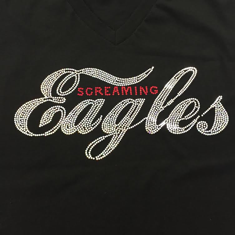 Screaming Eagles Black Cotton Tee Shirt