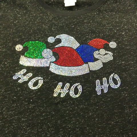 HO HO HO Hat Christmas Black V-neck T-shirt