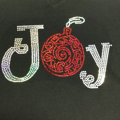 Christmas JOY Ornament Black V-neck T-shirt