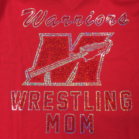 Muskego Wrestling MOM Spangled Fitted V-Neck Tee