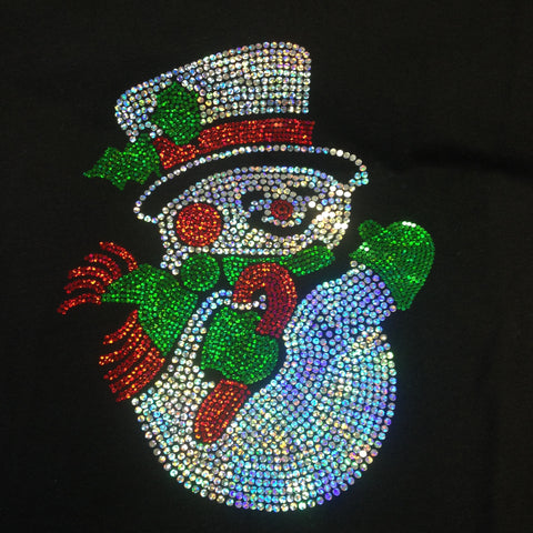 Spangled Frosty the Snowman Christmas Black V-neck T-shirt
