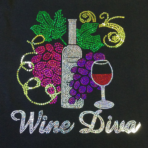 Wine Diva V-neck Black T-shirt