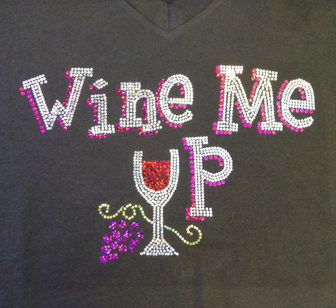 Wine Me Up! V-neck Black T-shirt
