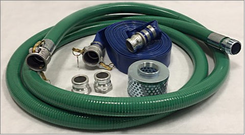 Pump Hose KIT 1 - Female Camlock X Male Pipe Thread Suction & Discharge Hose with Steel Strainer