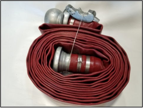 Red PVC Discharge Hose Assemblies with Banded Male and Female Bauer Fittings