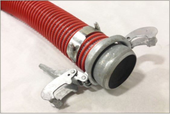 Orange & Clear Kanaline Style Fabric Reinforced Suction Hose with Banded Bauer Fittings