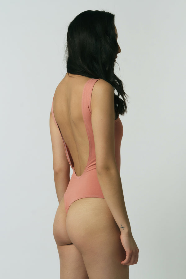 Backless Thong Bodysuit in Rose