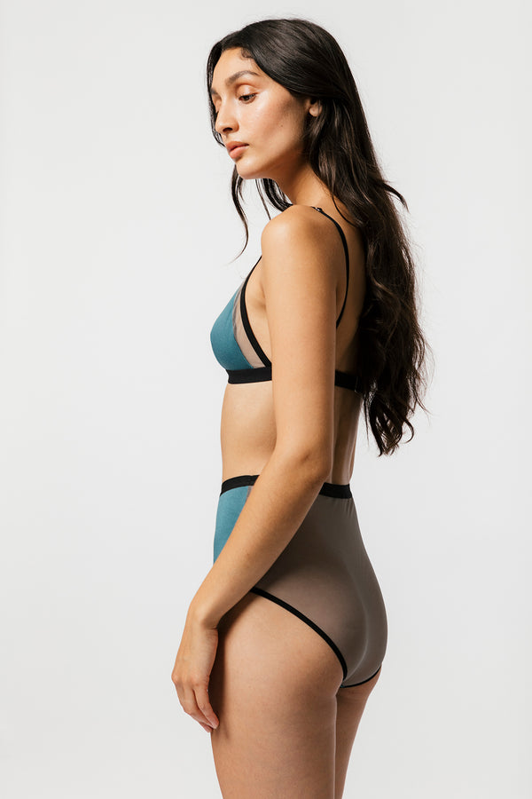 Lux High Waist Brief in Teal