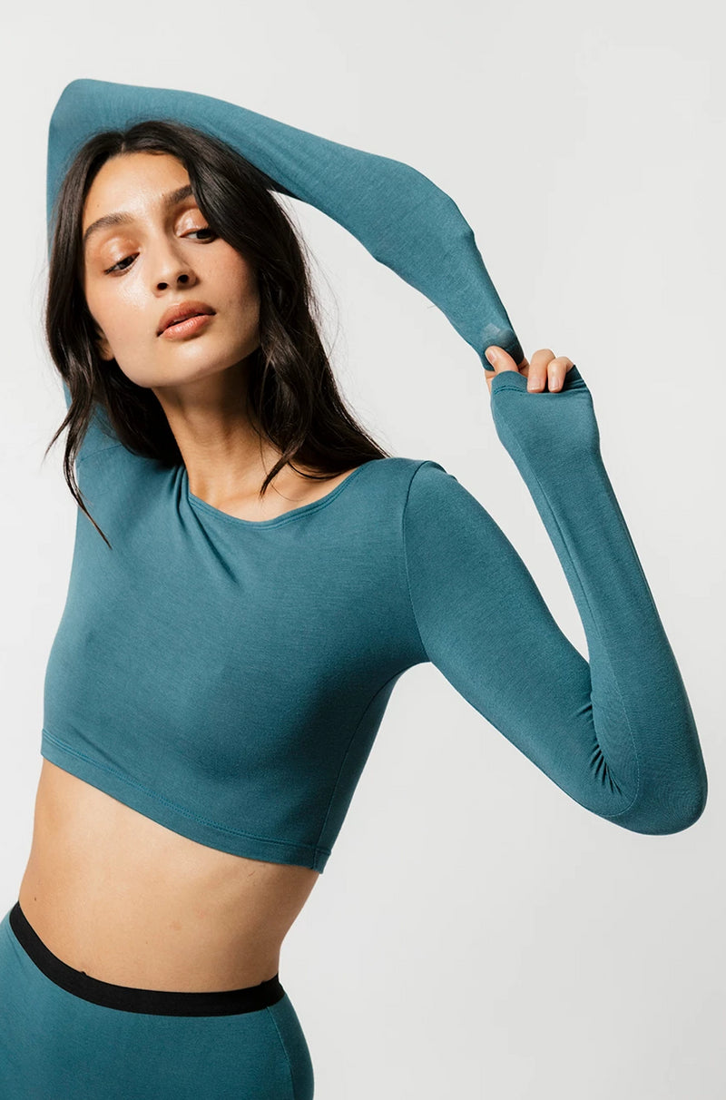 Skye Crop in Teal