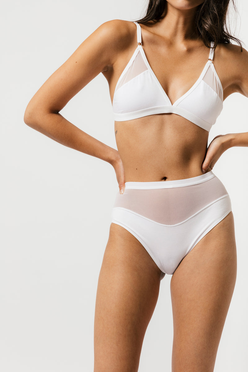 Logan High Cut Bikini in White