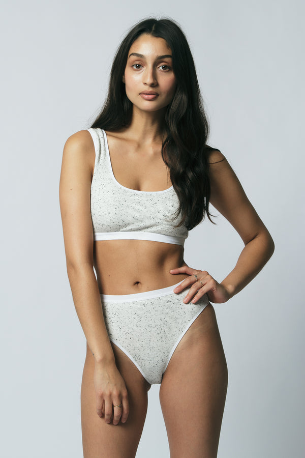 Carter High Bikini in Speckled White