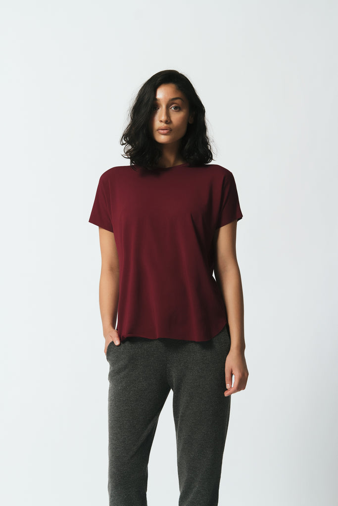Canadian made relaxed fit bamboo jersey tee with scoop neck in maroon