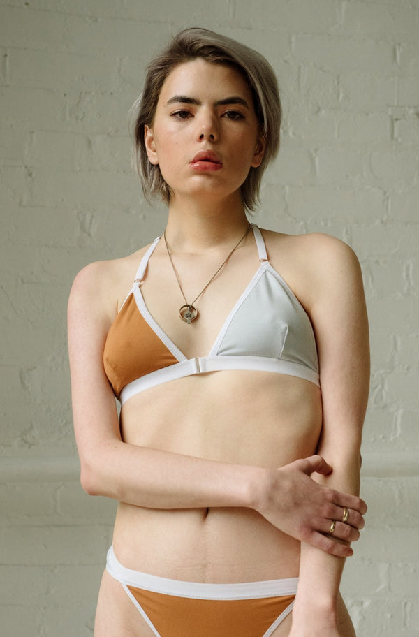 Tate Bra in Two-Tone Caramel and Concrete