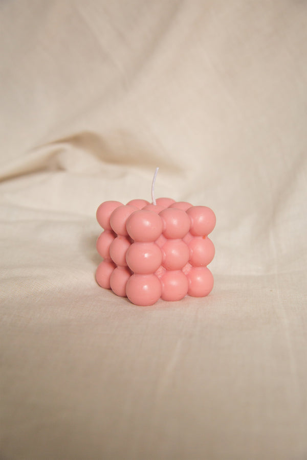 Dusty rose hand poured soy wax bubble candle