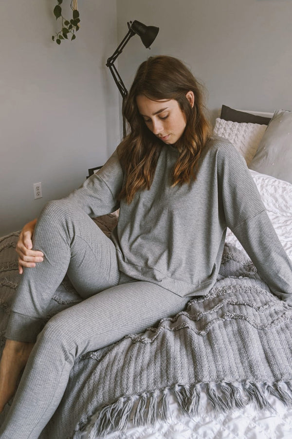 Everette Pant in Grey Rib
